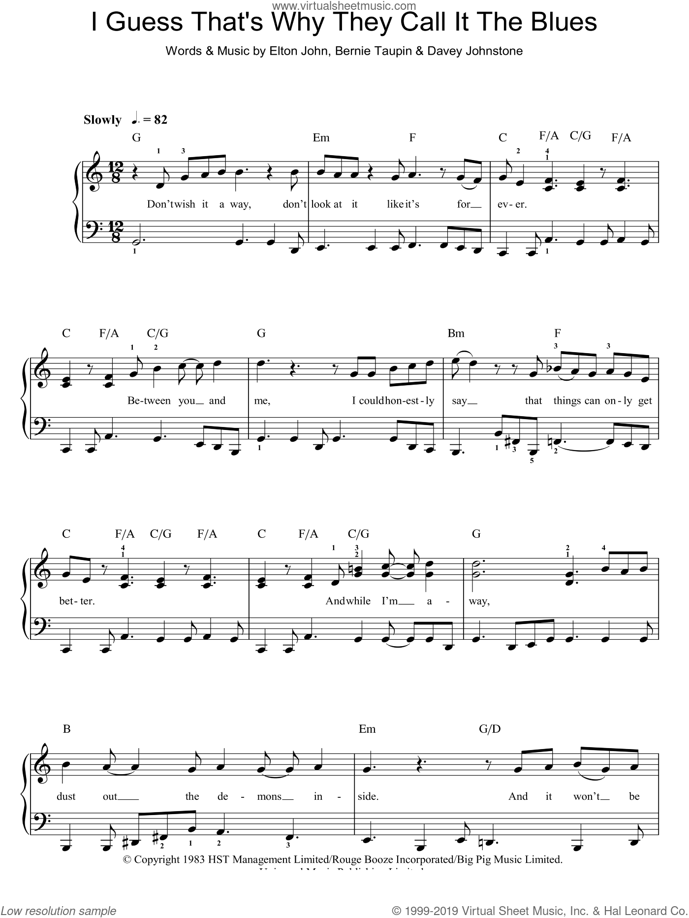 I Guess That's Why They Call It The Blues sheet music for piano solo (chords) by Davey Johnstone