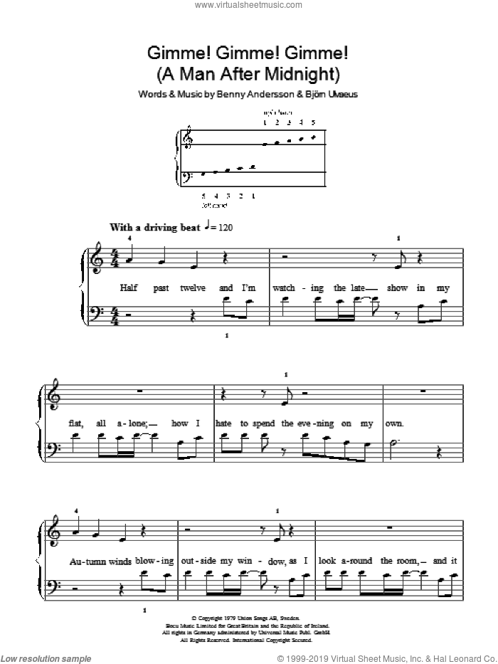 Gimme! Gimme! Gimme! (A Man After Midnight) sheet music for piano solo , ABBA and Benny Andersson. Score Image Preview.