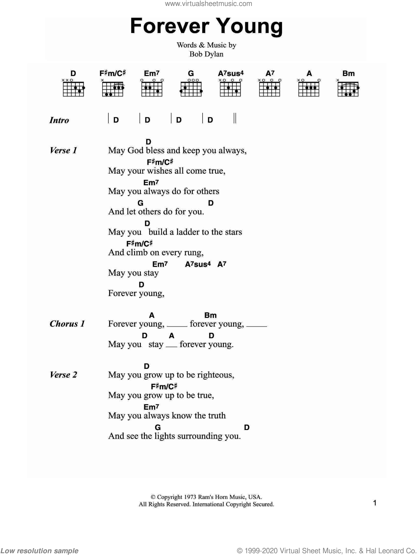Forever Young sheet music for guitar (chords) by Bob Dylan, intermediate skill level