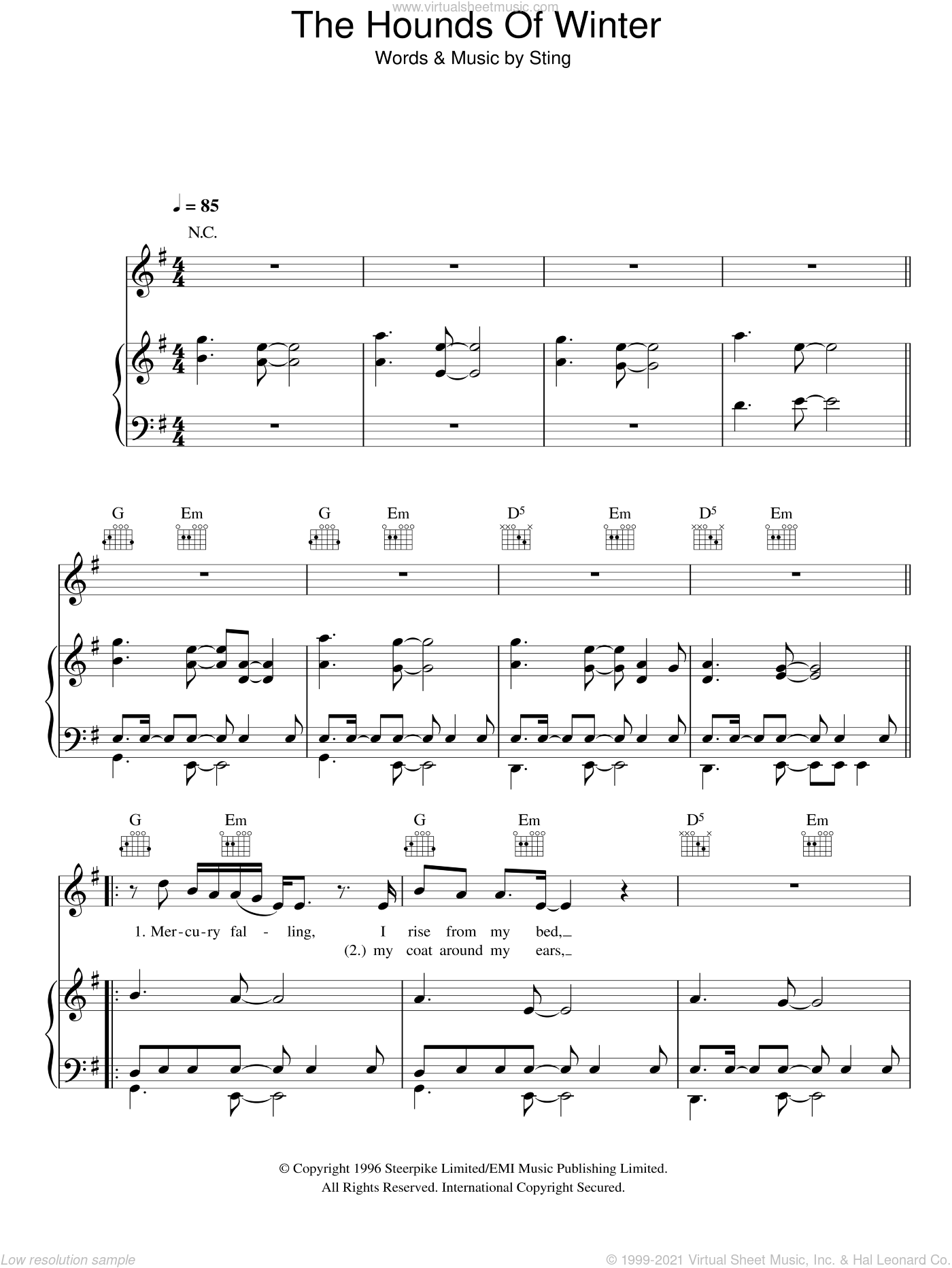 The Hounds Of Winter sheet music for voice, piano or guitar by Sting, intermediate. Score Image Preview.