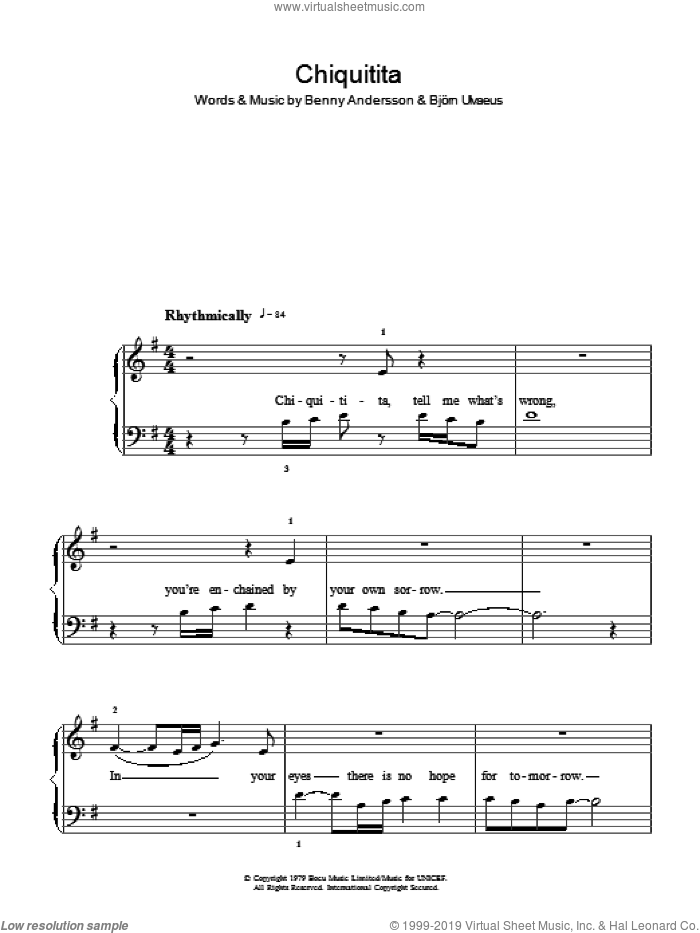 Chiquitita sheet music for piano solo by Benny Andersson and ABBA. Score Image Preview.