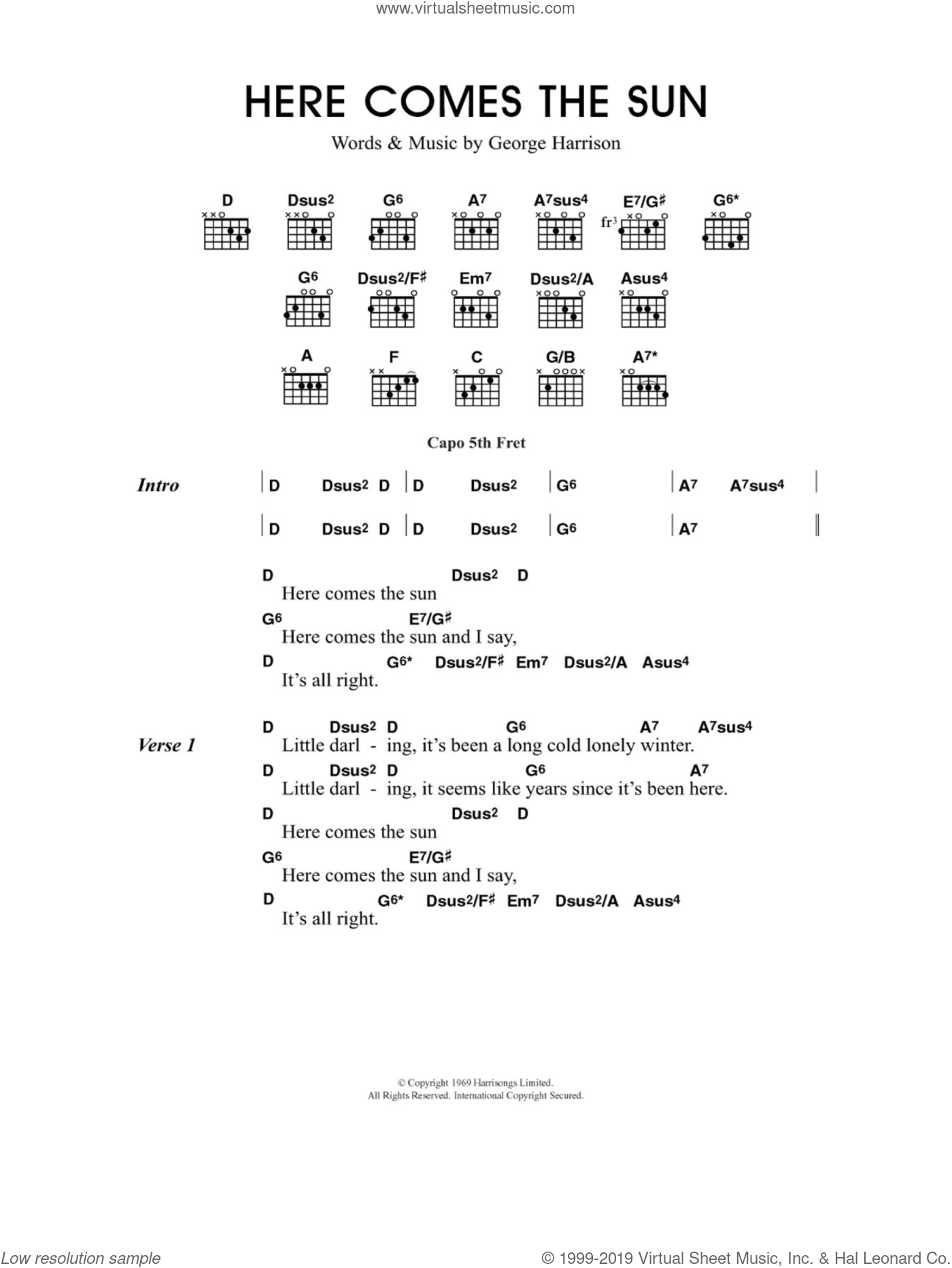 Harrison - Here Comes The Sun sheet music for guitar (chords)