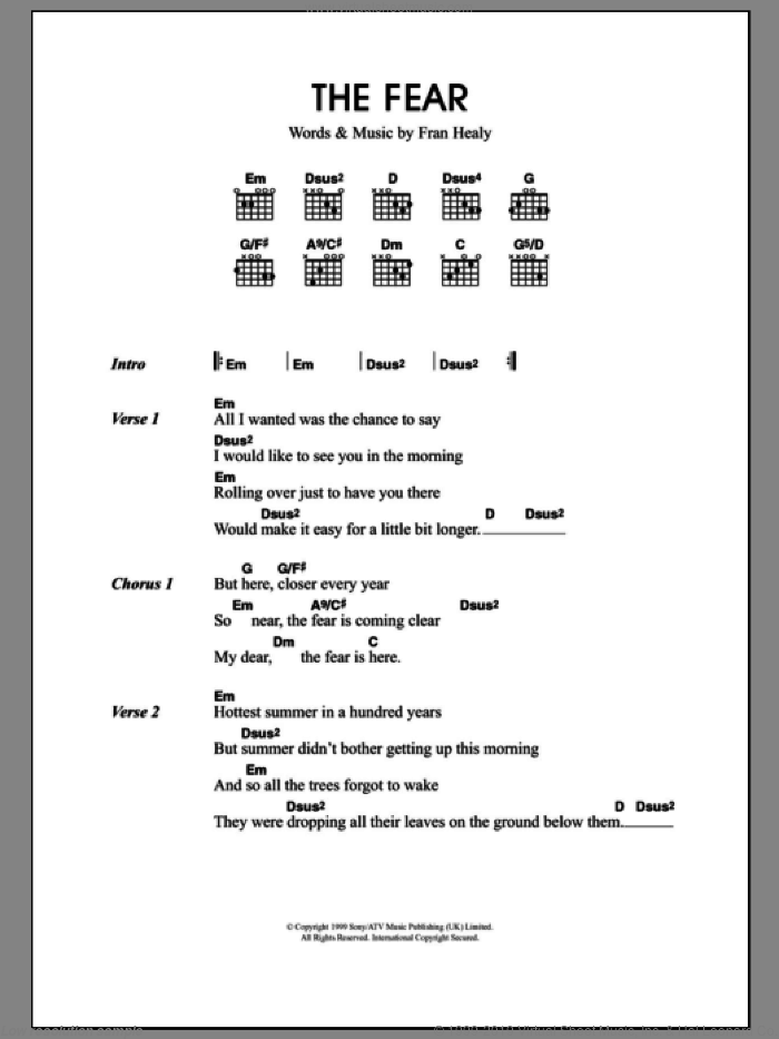 The Fear sheet music for guitar (chords) by Merle Travis. Score Image Preview.