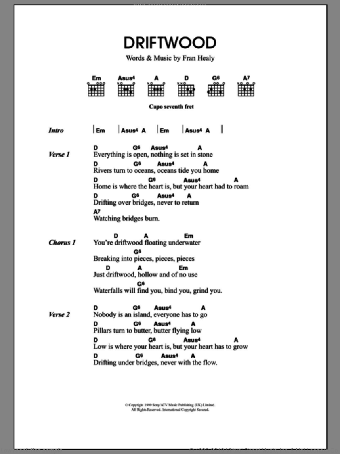 Driftwood sheet music for guitar (chords, lyrics, melody) by Fran Healy