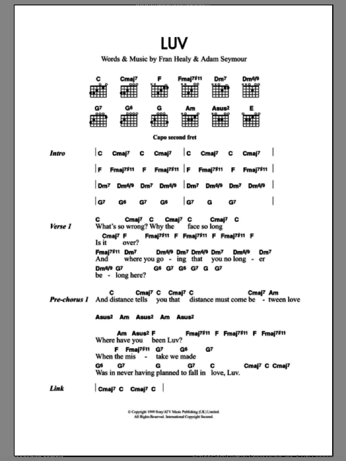 Luv sheet music for guitar (chords, lyrics, melody) by Fran Healy