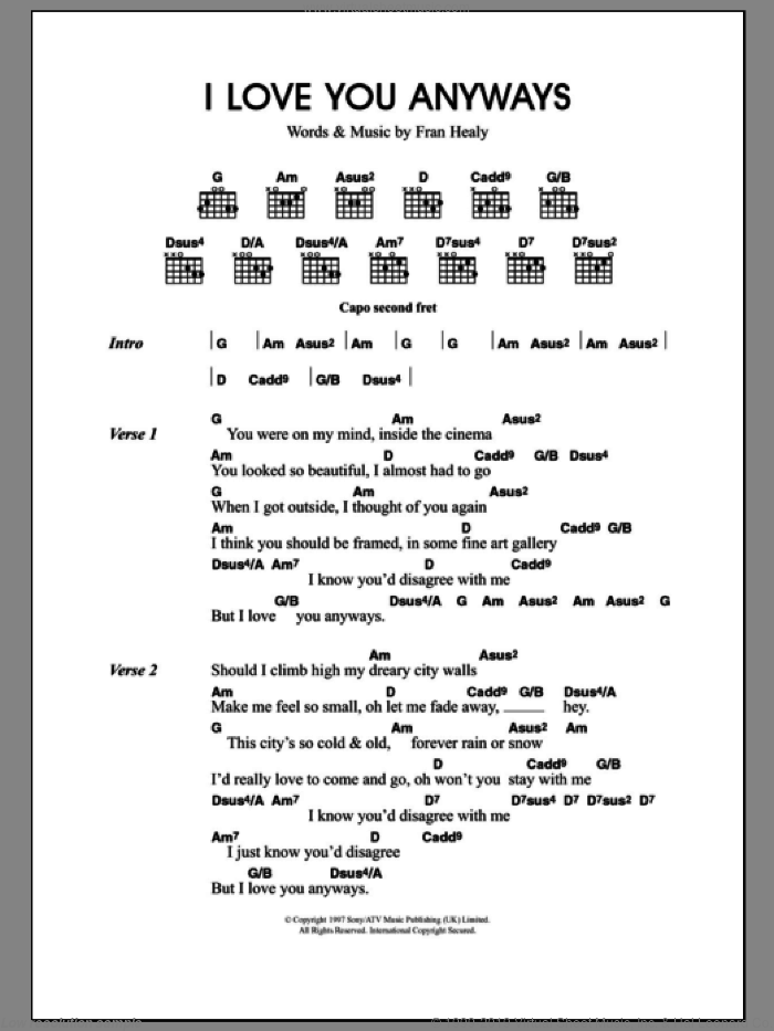I Love You Anyways sheet music for guitar (chords) by Merle Travis. Score Image Preview.