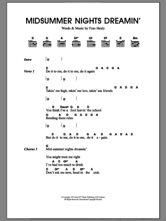 Midsummer Nights Dreamin' sheet music for guitar (chords) by Merle Travis and Fran Healy, intermediate
