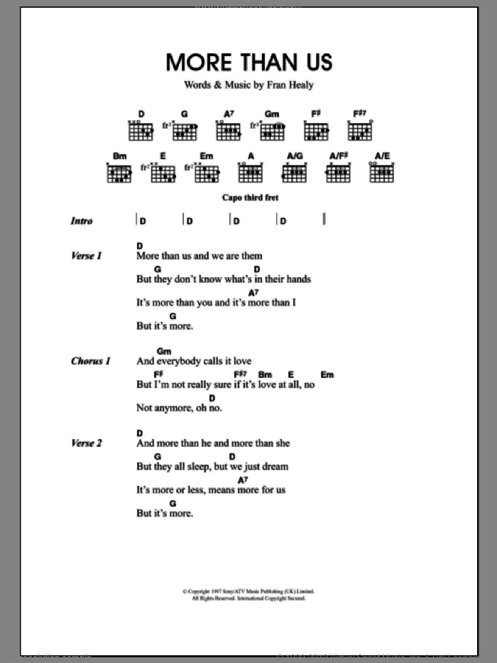 More Than Us sheet music for guitar (chords) by Merle Travis and Fran Healy, intermediate skill level