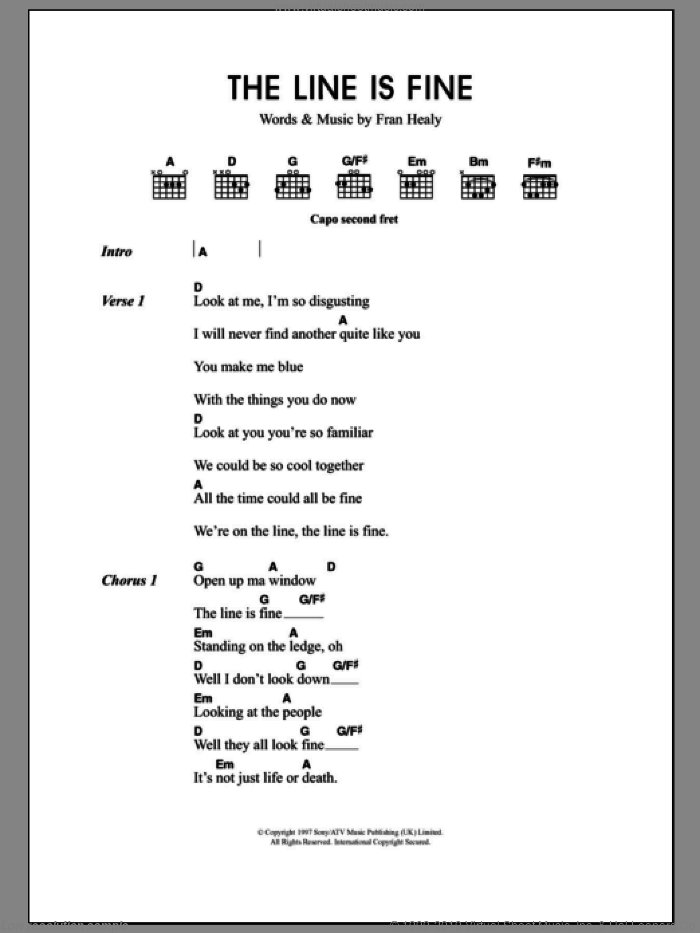 The Line Is Fine sheet music for guitar (chords) by Merle Travis and Fran Healy, intermediate. Score Image Preview.