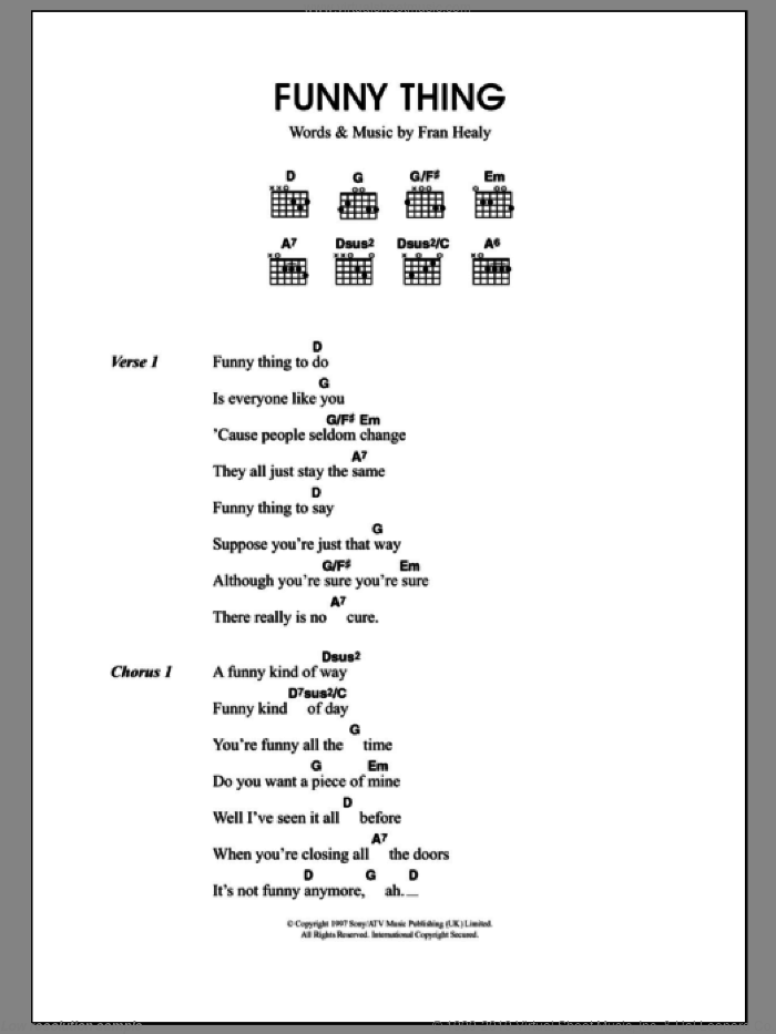 Funny Thing sheet music for guitar (chords) by Merle Travis and Fran Healy, intermediate