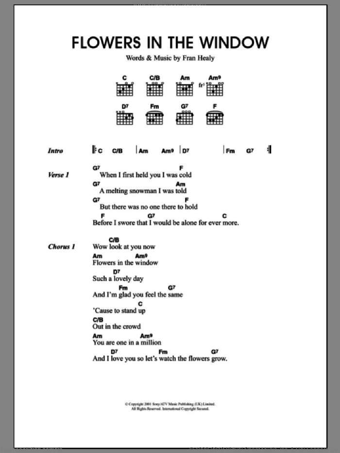 Flowers In The Window sheet music for guitar (chords) by Merle Travis and Fran Healy, intermediate