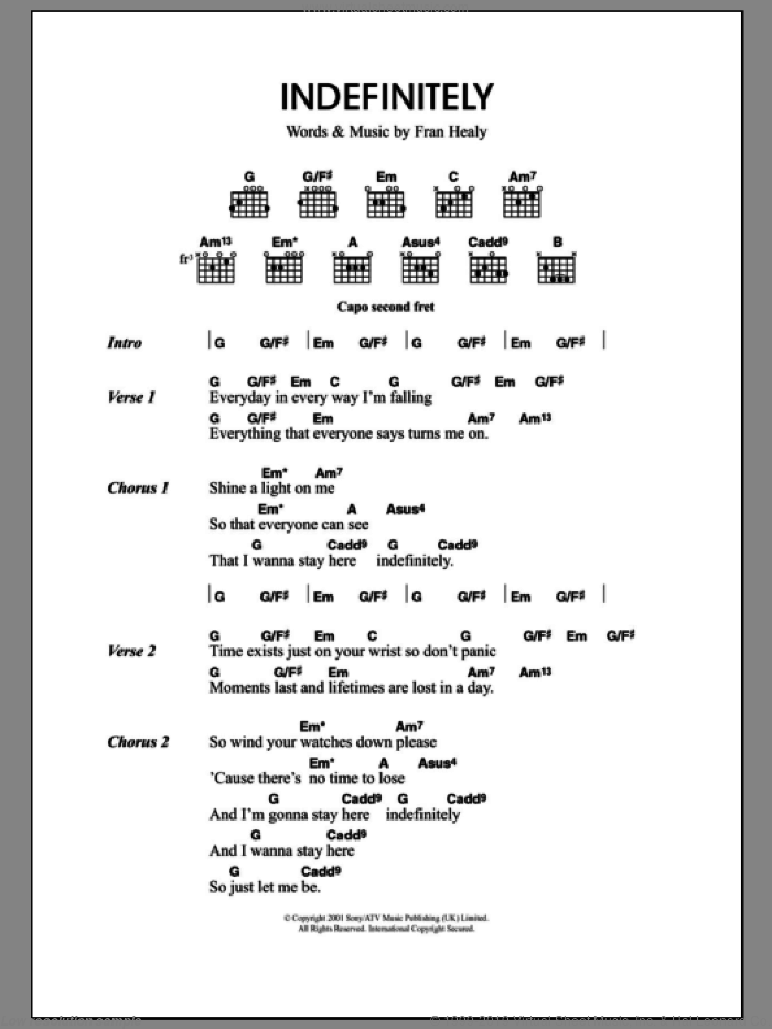 Indefinitely sheet music for guitar (chords) by Fran Healy and Merle Travis. Score Image Preview.