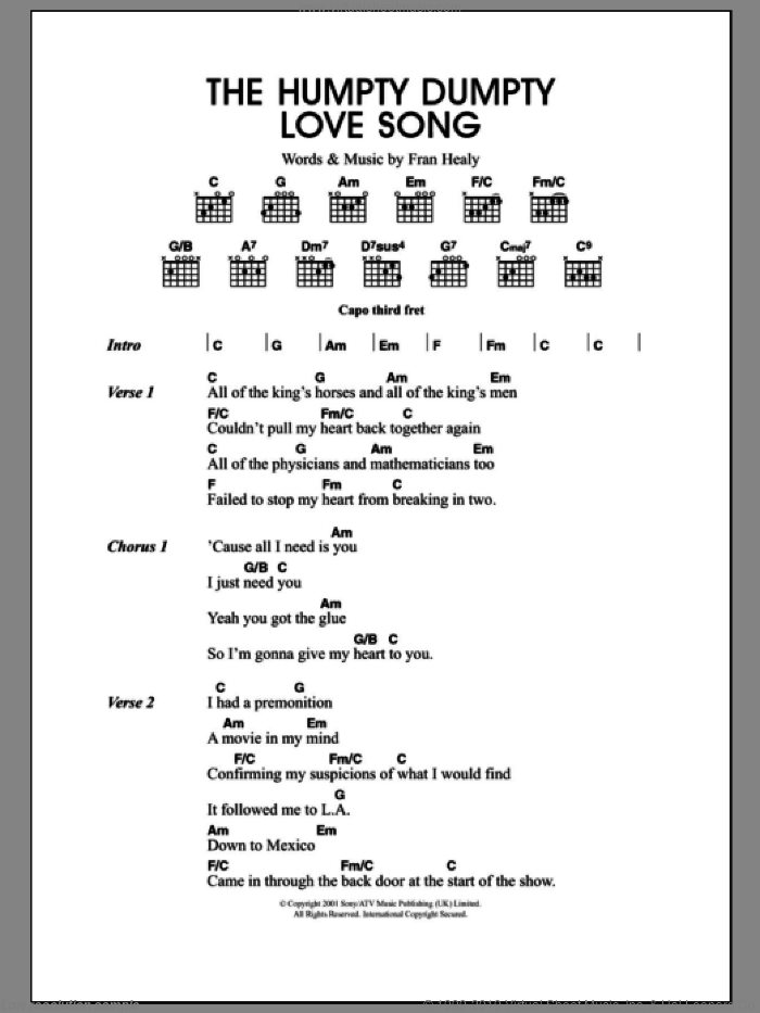 The Humpty Dumpty Love Song sheet music for guitar (chords) by Merle Travis and Fran Healy, intermediate. Score Image Preview.