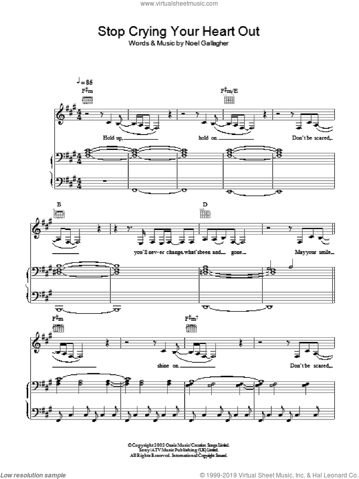 Stop Crying Your Heart Out sheet music for voice, piano or guitar by Leona Lewis, Oasis and Noel Gallagher, intermediate. Score Image Preview.