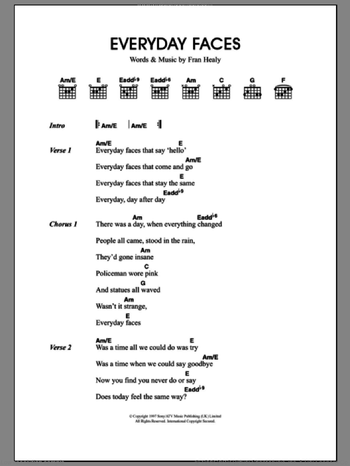 Everyday Faces sheet music for guitar (chords) by Merle Travis and Fran Healy, intermediate. Score Image Preview.