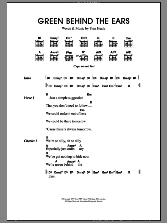 Green Behind The Ears sheet music for guitar (chords) by Merle Travis. Score Image Preview.