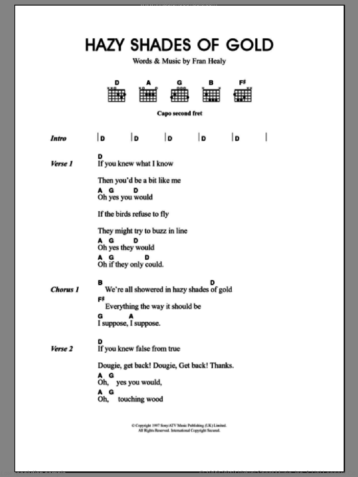 Hazy Shades Of Gold sheet music for guitar (chords) by Fran Healy and Merle Travis. Score Image Preview.