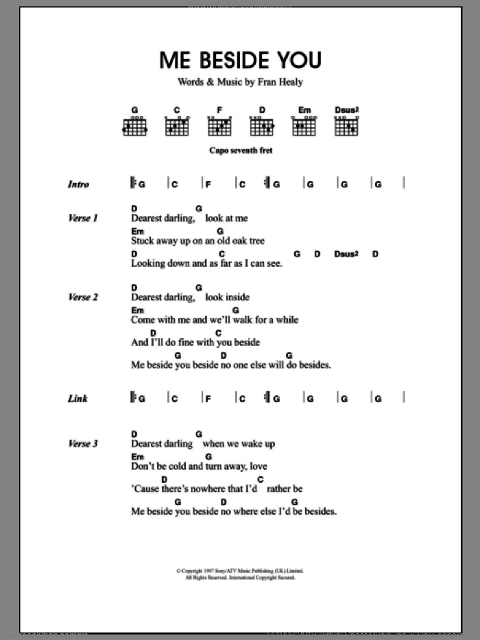 Me Beside You sheet music for guitar (chords) by Merle Travis and Fran Healy, intermediate