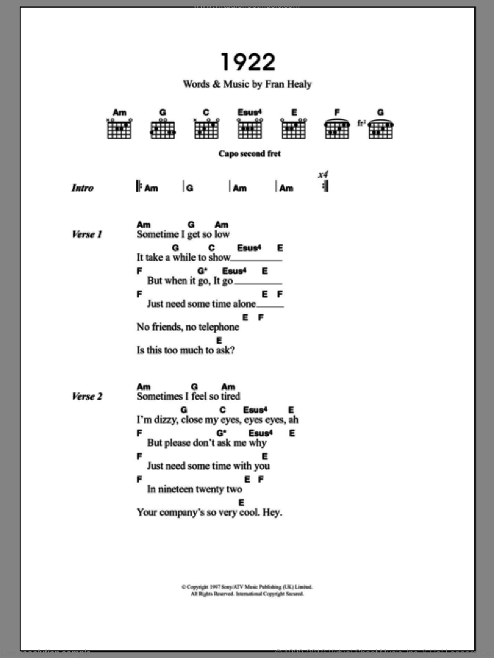 1922 sheet music for guitar (chords) by Fran Healy