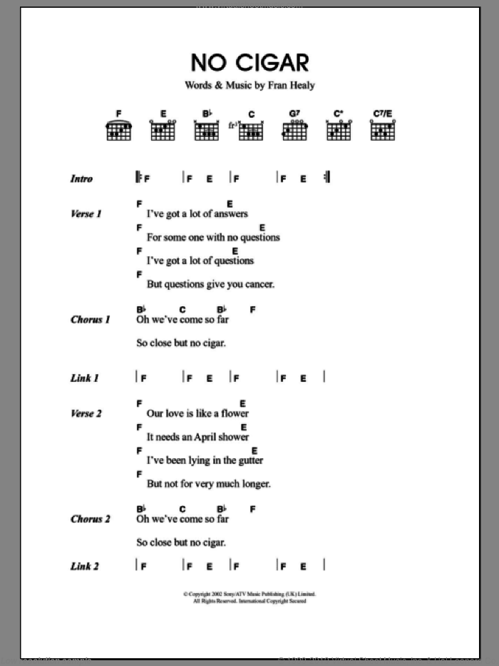 No Cigar sheet music for guitar (chords) by Fran Healy and Merle Travis. Score Image Preview.