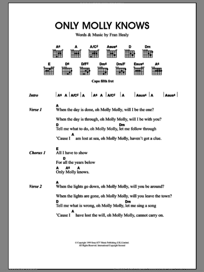 Only Molly Knows sheet music for guitar (chords) by Fran Healy