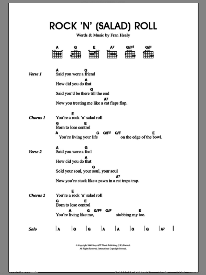 Rock 'n' (Salad) Roll sheet music for guitar (chords) by Merle Travis and Fran Healy, intermediate