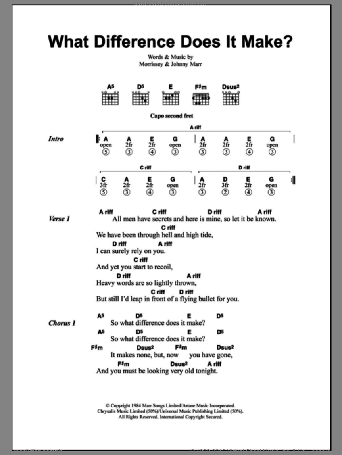 What Difference Does It Make? sheet music for guitar (chords) by Steven Morrissey, The Smiths and Johnny Marr. Score Image Preview.