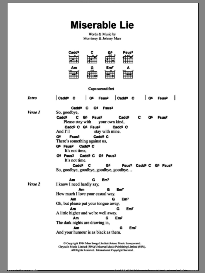 Miserable Lie sheet music for guitar (chords) by The Smiths, Johnny Marr and Steven Morrissey. Score Image Preview.