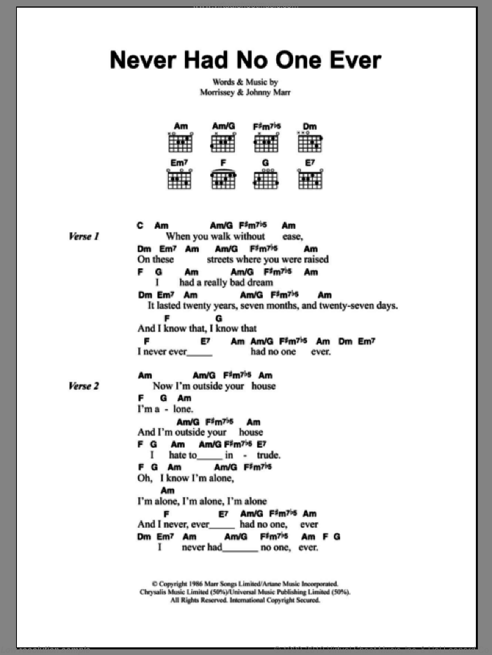 Never Had No One Ever sheet music for guitar (chords) by Steven Morrissey, The Smiths and Johnny Marr. Score Image Preview.