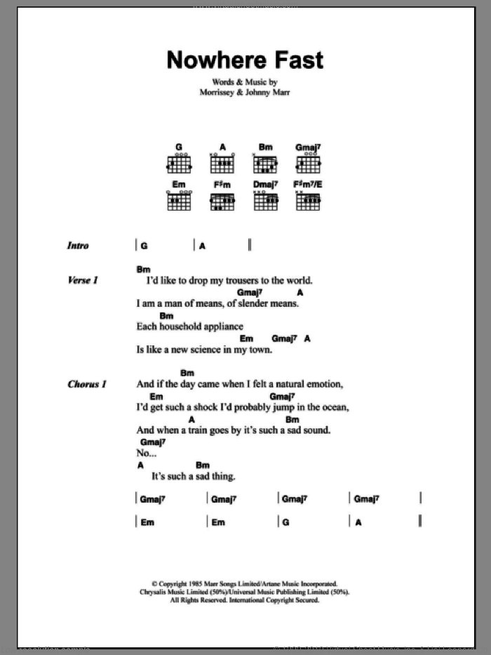 Nowhere Fast sheet music for guitar (chords) by The Smiths, Johnny Marr and Steven Morrissey. Score Image Preview.