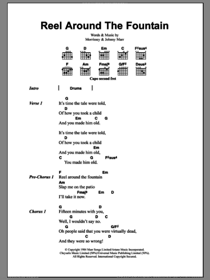 Smiths Reel Around The Fountain Sheet Music For Guitar Chords