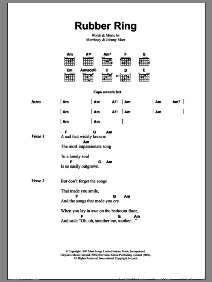 Rubber Ring sheet music for guitar (chords) by The Smiths, Johnny Marr and Steven Morrissey, intermediate skill level