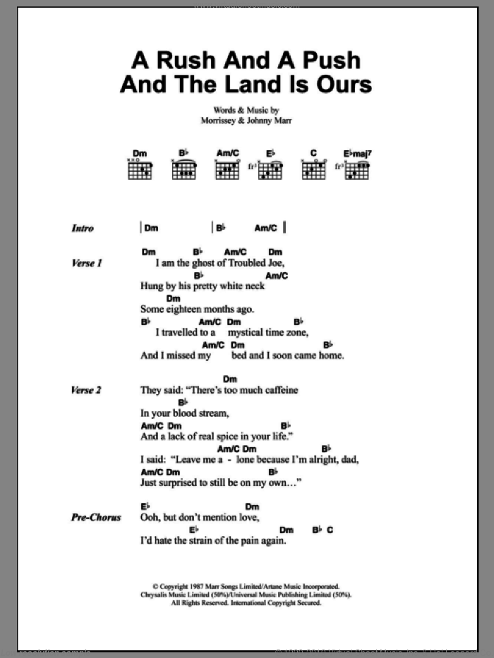 A Rush And A Push And The Land Is Ours sheet music for guitar (chords) by The Smiths, Johnny Marr and Steven Morrissey, intermediate skill level