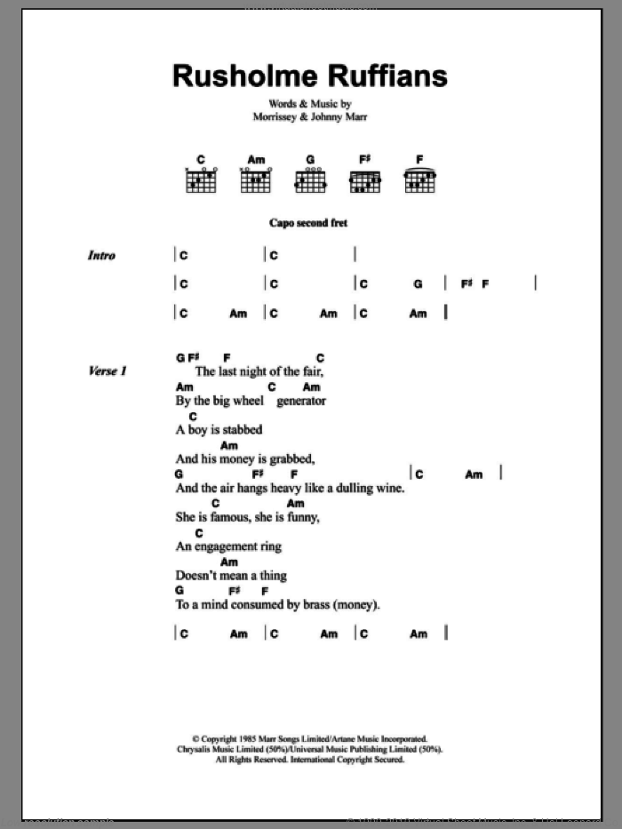 Rusholme Ruffians sheet music for guitar (chords) by The Smiths, Johnny Marr and Steven Morrissey. Score Image Preview.