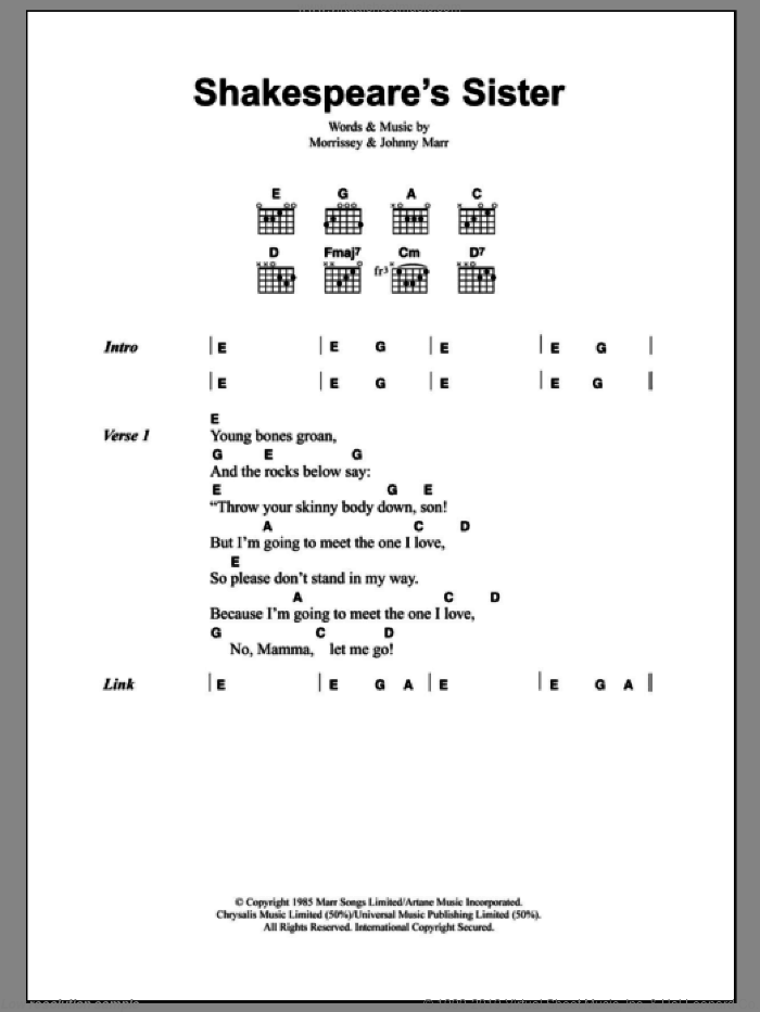 Shakespeare's Sister sheet music for guitar (chords) by The Smiths, Johnny Marr and Steven Morrissey. Score Image Preview.