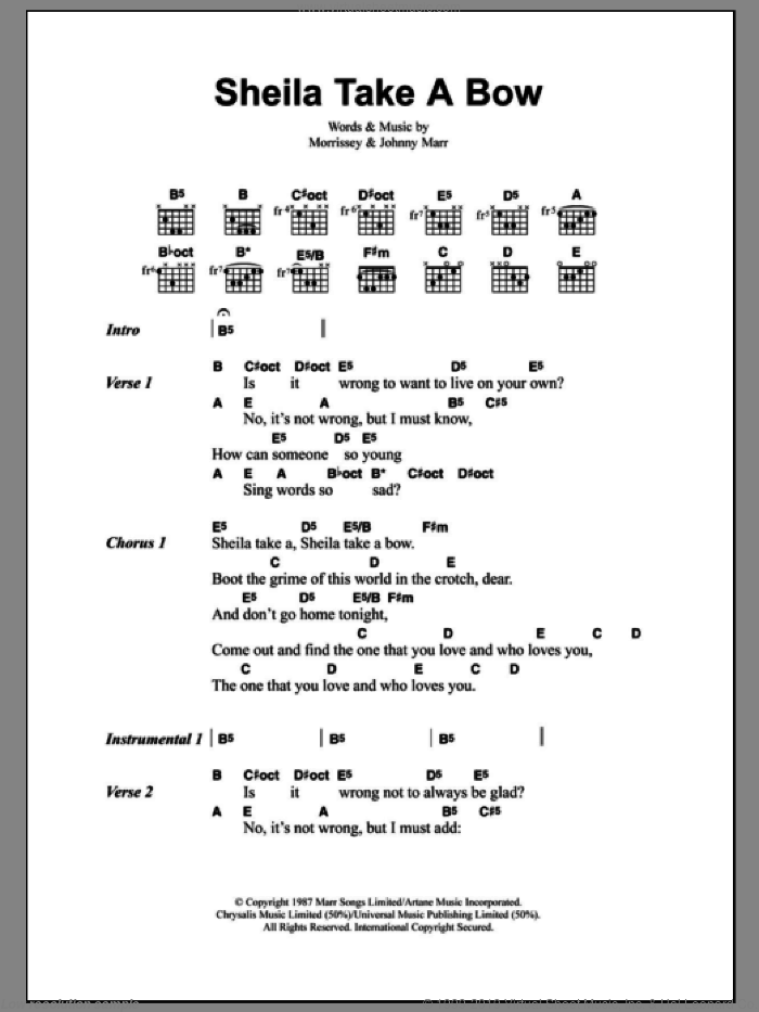 Sheila Take A Bow sheet music for guitar (chords) by Steven Morrissey, The Smiths and Johnny Marr. Score Image Preview.