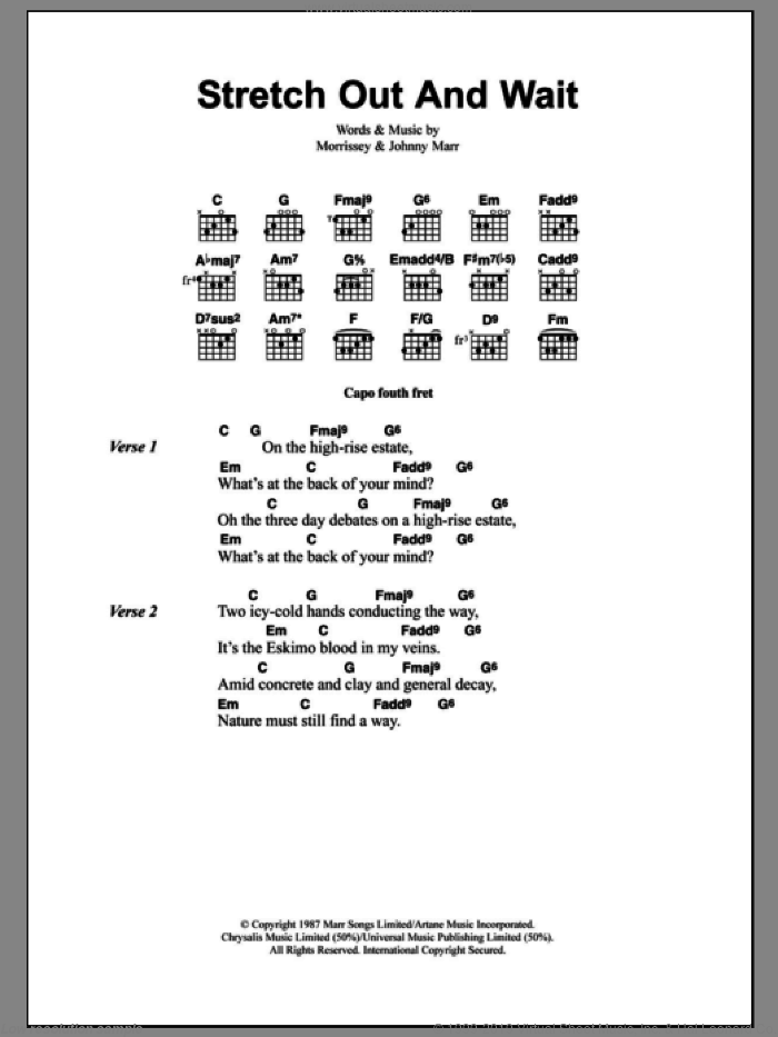 Stretch Out And Wait sheet music for guitar (chords) by The Smiths, Johnny Marr and Steven Morrissey, intermediate skill level