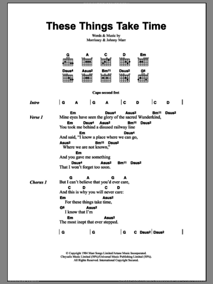 These Things Take Time sheet music for guitar (chords) by Steven Morrissey, The Smiths and Johnny Marr. Score Image Preview.