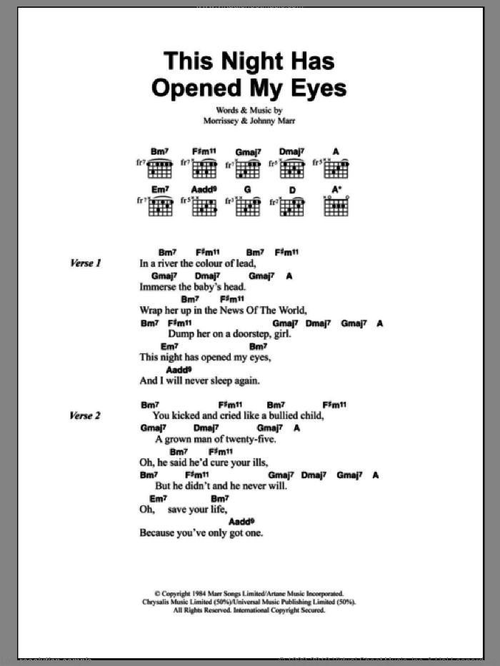 Smiths This Night Has Opened My Eyes Sheet Music For Guitar Chords