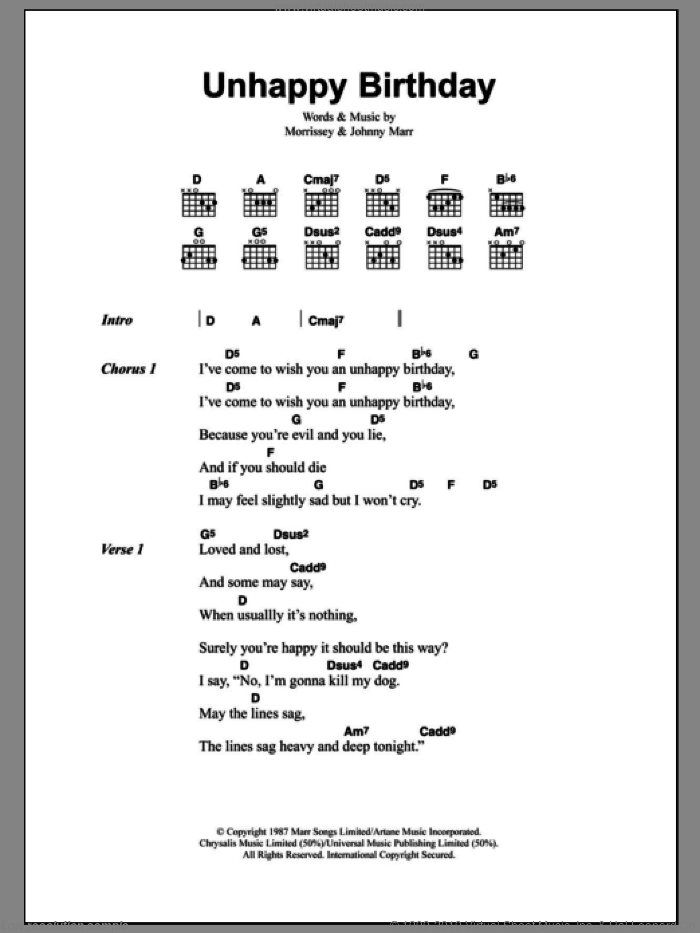 Unhappy Birthday sheet music for guitar (chords) by The Smiths, Johnny Marr and Steven Morrissey, intermediate guitar (chords). Score Image Preview.