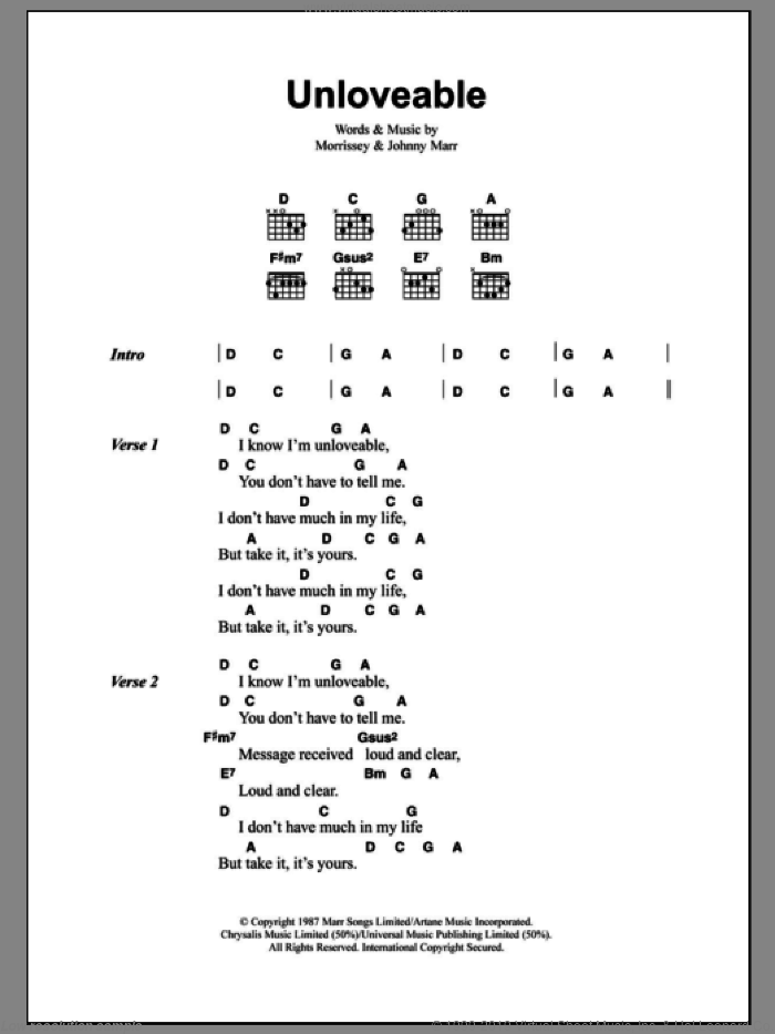 Unloveable sheet music for guitar (chords) by Steven Morrissey, The Smiths and Johnny Marr. Score Image Preview.