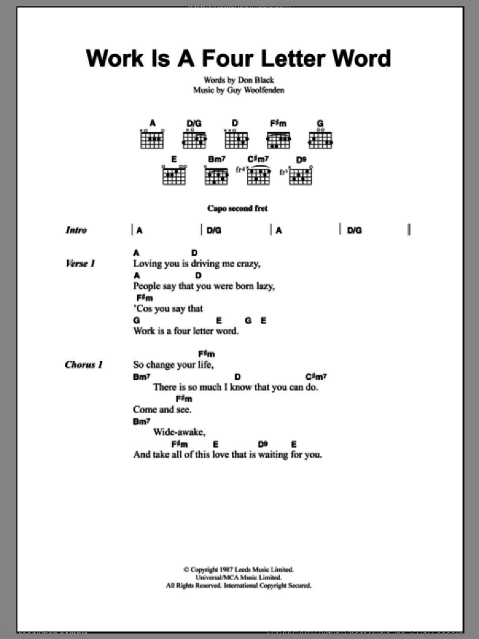 Work Is A Four Letter Word sheet music for guitar (chords) by Guy Woolfenden