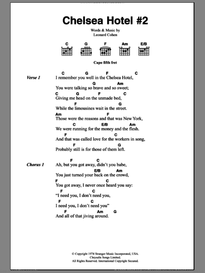 Chelsea Hotel #2 sheet music for guitar (chords) by Leonard Cohen. Score Image Preview.