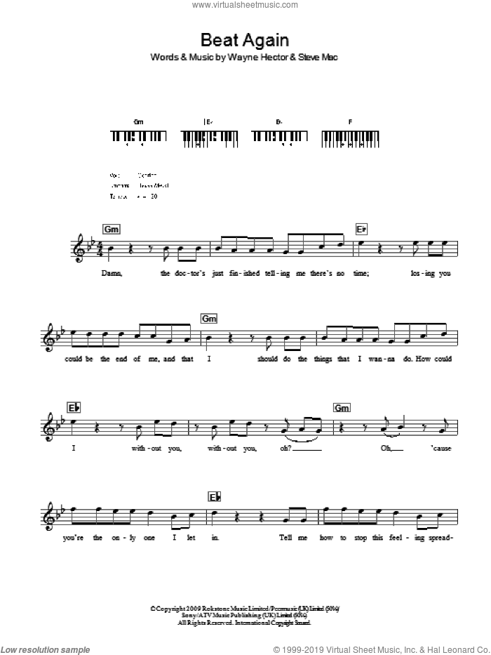 Beat Again sheet music for voice and other instruments (fake book) by JLS, Steve Mac and Wayne Hector, intermediate. Score Image Preview.