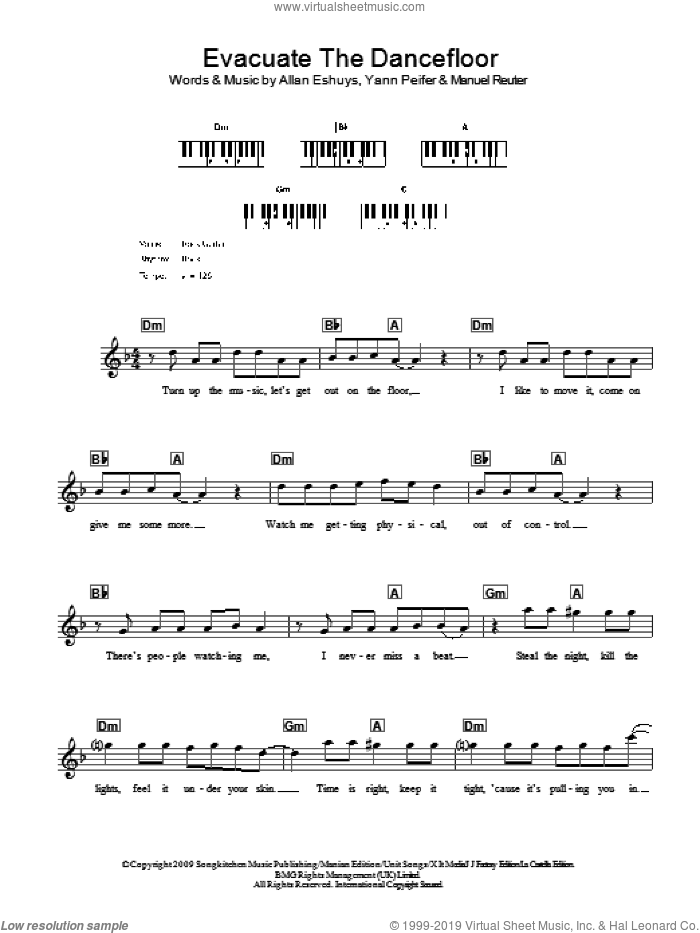 Evacuate The Dancefloor sheet music for voice and other instruments (fake book) by Yann Peifer. Score Image Preview.