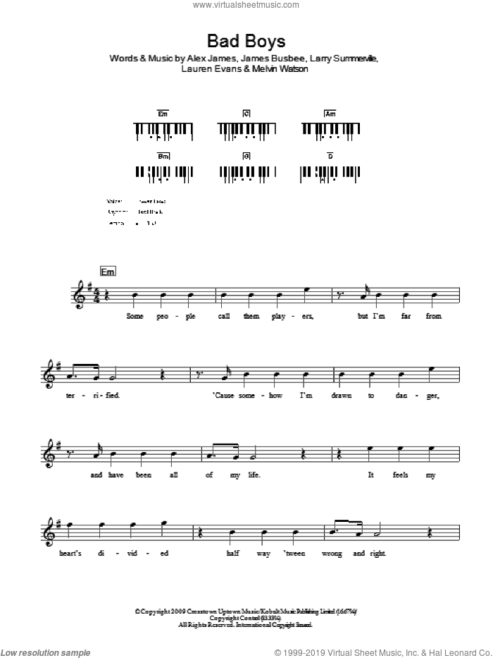Bad Boys sheet music for voice and other instruments (fake book) by Alexandra Burke, Alex James and Lauren Evans, intermediate
