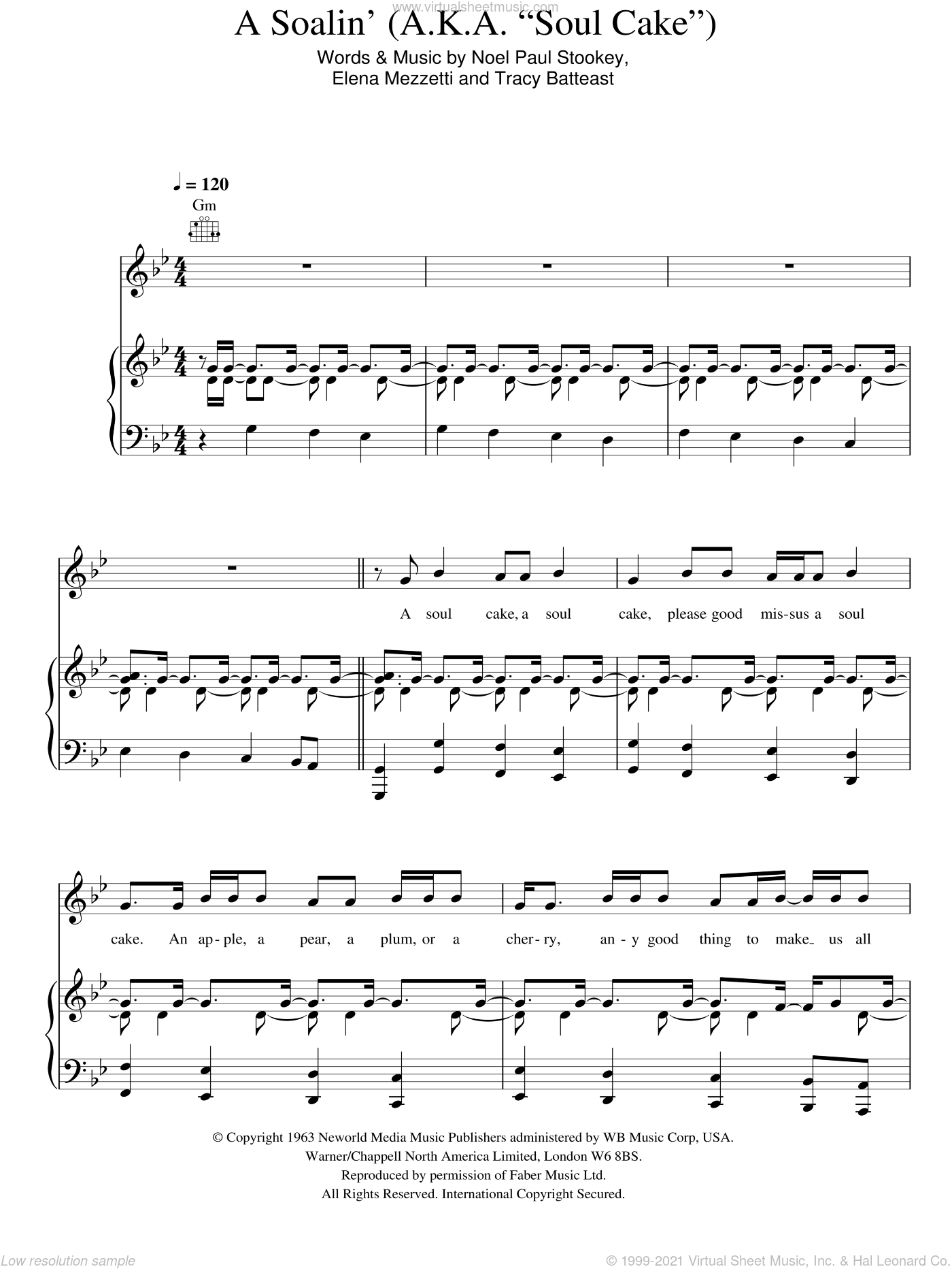 A Soalin' (A.K.A. 'Soul Cake') sheet music for voice, piano or guitar by Sting, Elena Mezzetti, Noel Stookey and Tracy Batteast, intermediate skill level
