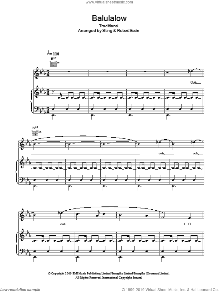 Balulalow sheet music for voice, piano or guitar , Sting and Peter Warlock. Score Image Preview.