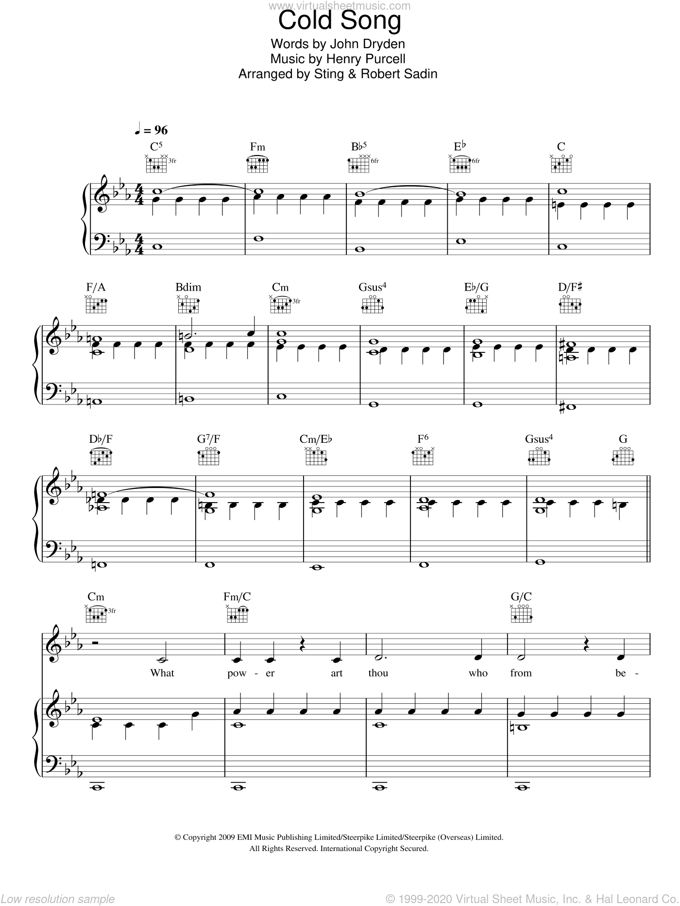 Cold Song sheet music for voice, piano or guitar by Sting, Henry Purcell and John Dryden. Score Image Preview.