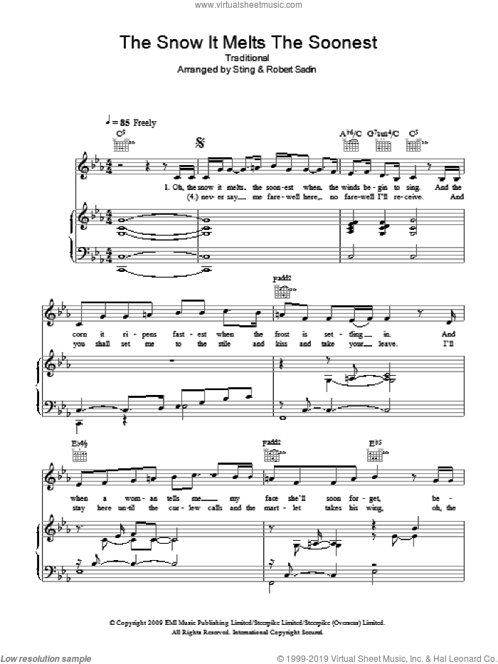 The Snow It Melts The Soonest sheet music for voice, piano or guitar by Sting and Miscellaneous. Score Image Preview.